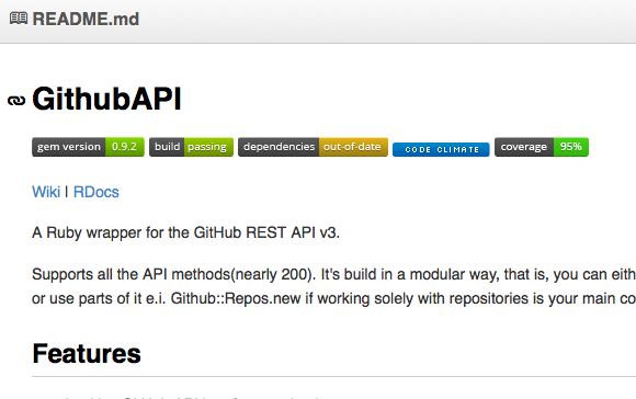 Example of Badges in repository README.md